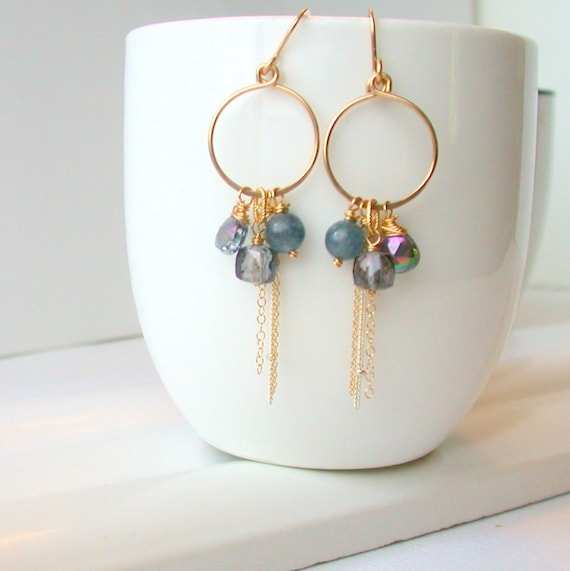 Coastline Blue Gypsy Hoops
