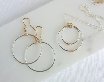 Simply Circles. Minimalist Mixed Metal Necklace. Round Hoop Earrings.