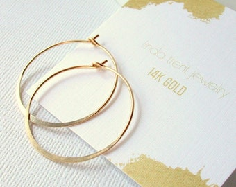 Solid 14k Gold Hoops