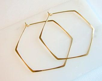 Gold Hexagon Hoop Earrings. Extra Large Hoops. Extra Large Earrings. Gold Hexagon Hoops. Gold Geometric Hoop Earrings. Geometric Earrings.