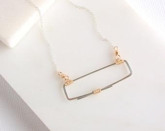 Mixed Metal Rectangle Bar Necklace. Modern Rectangle Pendant Necklace. Minimalist Mixed Metal Necklace
