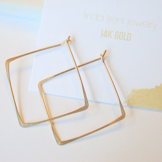 SALE. 14K Gold Square Hoops