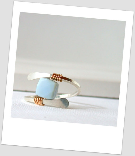 Mexican Blue Opal Ring