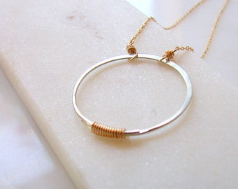 Mixed Metal Circle Necklace. Silver Circle Pendant. Layering Necklace. Minimalist Necklace.