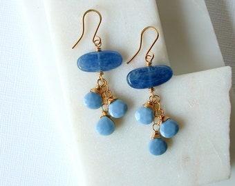 Kyanite and Blue Opal Earrings. Polished Kyanite Earrings. Mexican Opal Earrings. Boho Blue Earrings.