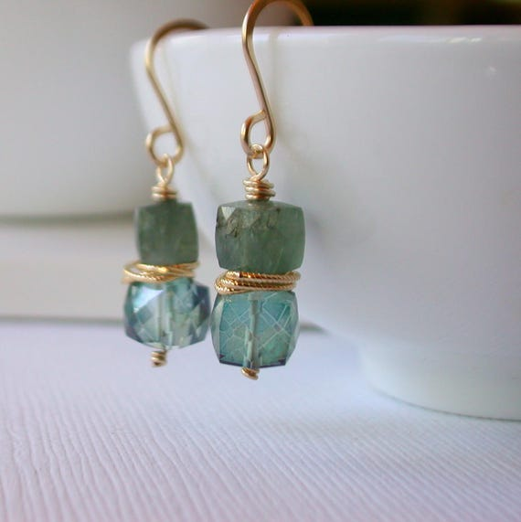 Outlet. Cubist Aquamarine and Quartz Earrings.  Blue and Green Earrings. Gemstone Cascade Earrings. March Birthstone Earrings.