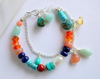 Adventurer Bracelet. Multi Gemstone Bracelet. Turquoise Gemstone Bracelet. Multi Color Gemstone Bracelet. Boho Colorful Bracelet.
