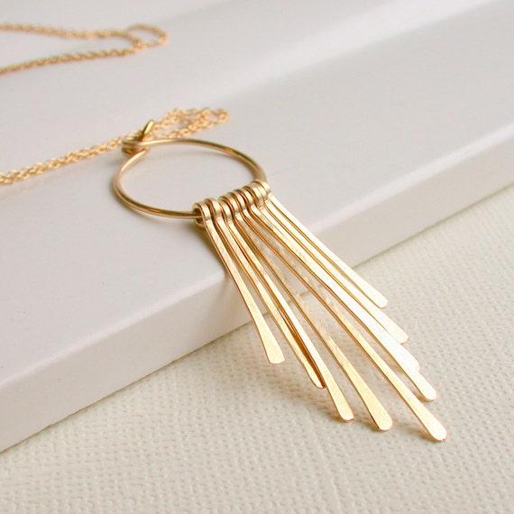Fringe Hoop Necklace. Gold Fringe Necklace. Sterling Fringe Necklace. Metal Necklace. Metalwork Necklace.
