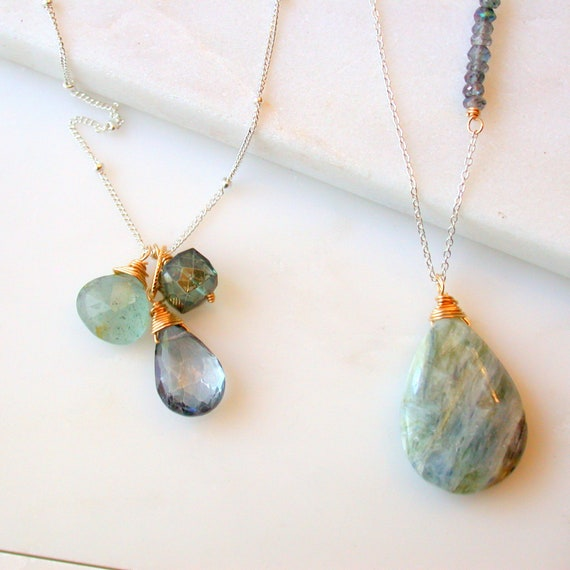 SALE. Earth and Sky Trio Necklace and Kyanite Drop Necklace