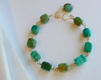 Turquoise Nugget Bracelet. Chunky Turquoise Bracelet.  Turquoise and Gold. Gifts for Girlfriends. Turquoise Jewelry Gifts.