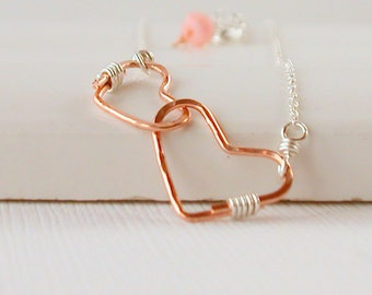 Heart Necklace Mending Hearts Necklace Gold Heart Necklace Rose gold Heart Necklace Sterling Heart Friendship Necklace