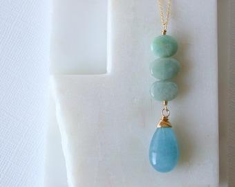 Aquamarine Stepping Stone Pendant. Aquamarine Pendant Necklace. Polished Aquamarine. Gemstone Necklace. Aquamarine Statement Necklace