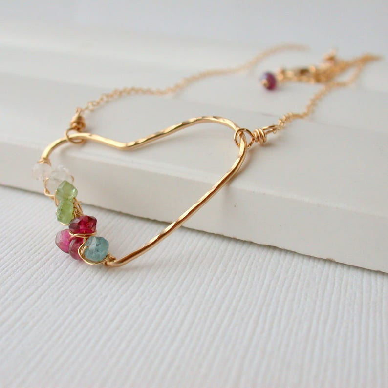 Birthstone Family Necklace. Birthstone Heart Necklace