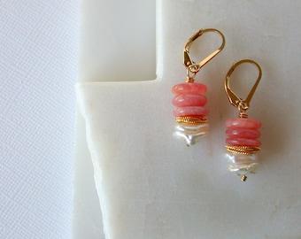 Pearl Blossom Earrings. Pearl and Gemstone Earrings. Pearl and Rhodocrosite Earrings. Gemstone Dangle Earrings. Wedding Blossom Earrings.