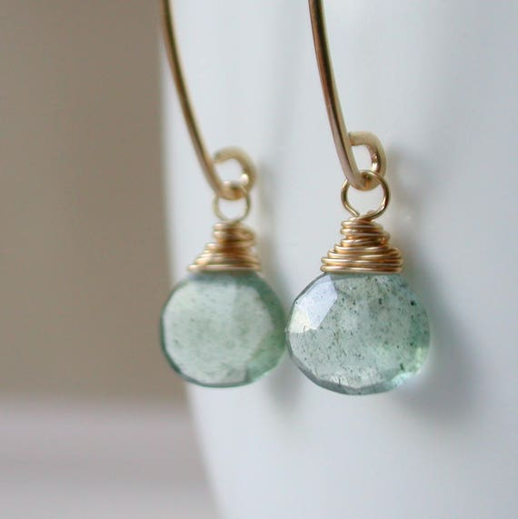 Moss Aquamarine Drop Earrings