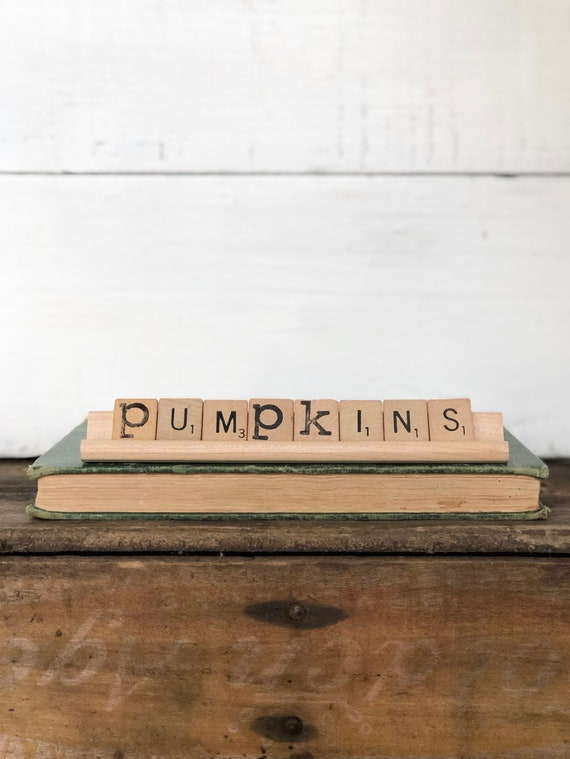 Vintage Scrabble Wood Rack Sign PUMPKINS Free Shipping