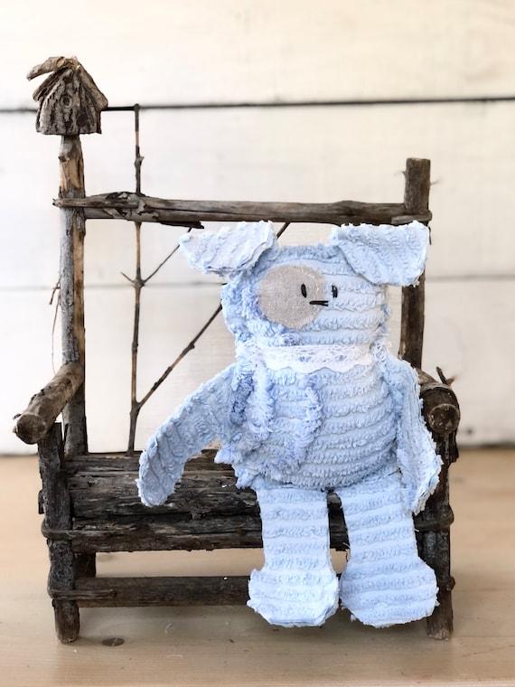 Blue Vintage Chenille Dog puppy farmhouse handmade gift