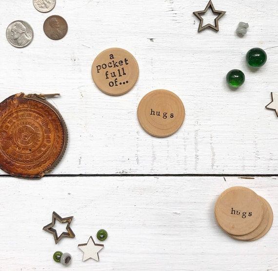 HUGS Wood Coins lot of 6 Wood discs inspirational gift friends FREE shipping
