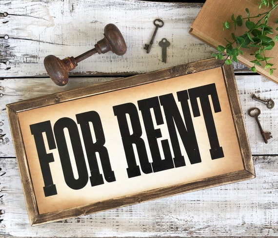 Vintage Advertising FOR RENT Signage || Window Card || framed wood sign