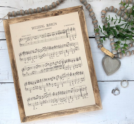 WEDDING MARCH Vintage 1936 Music Page Hymn Wood Frame Sign engagement anniversay newlywed gift FREE shipping