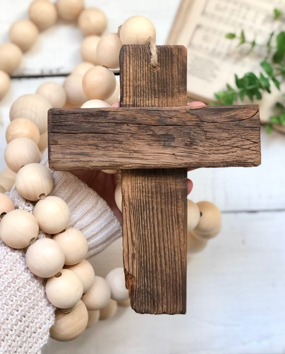 Large Natural Wood Bead Rosary Giant Handmade Prayer Meditation Wood Garland Rustic Farmhouse Decor FREE shipping 4ft long