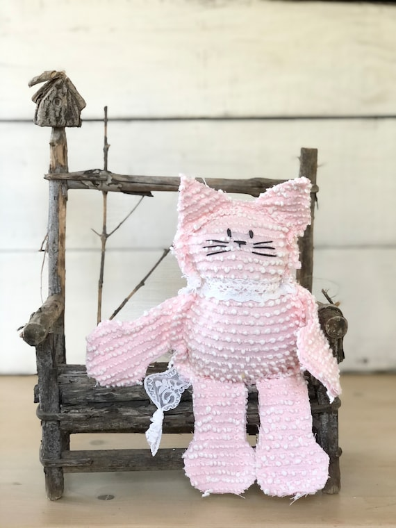 Pink and White Bates Hob Nail Vintage Chenille Cat Softie Plush Stuffed Animal kitten baby gift birthday free shipping