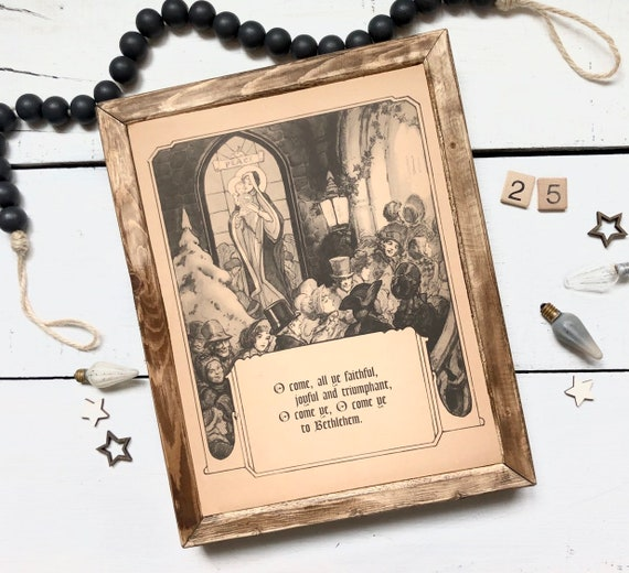 O Come All Ye Faithful 1930's Illustrated Mary and Jesus authentic page Wood Frame original hymnal Christmas Decor Farmhouse
