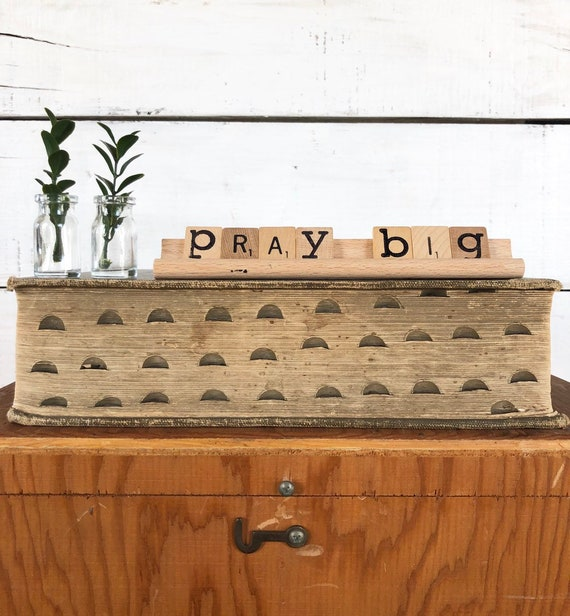 Vintage Scrabble Wood Rack Sign PRAY BIG Free Shipping