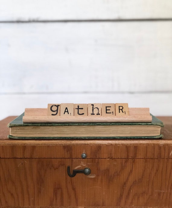 Vintage Scrabble Wood Rack Sign GATHER Free Shipping