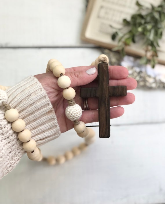 Natural Wood and Cream Crochet Bead Rosary Handmade Prayer Meditation Wood Garland Rustic Farmhouse Decor FREE shipping