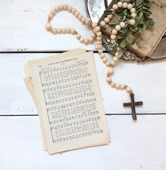 It Came Upon the Midnight Clear Vintage Hymn Framed Wood Sign original book page 1936