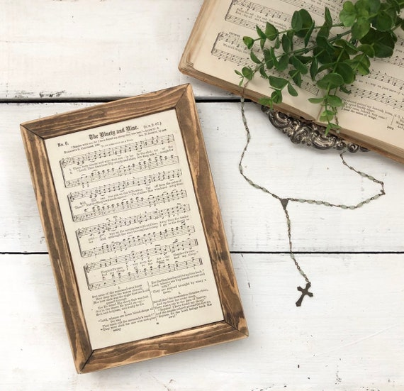 THE NINETY and NINE  Vintage 1896 Hymn Page||Wood Frame Sign||Authentic Hymnal Page||Wood sign