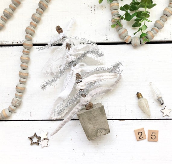Twig and Concrete Christmas Tree with Vintage Lace