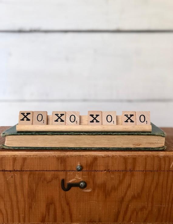 Vintage Scrabble Wood Rack Sign XOXOXO Free Shipping Valentine