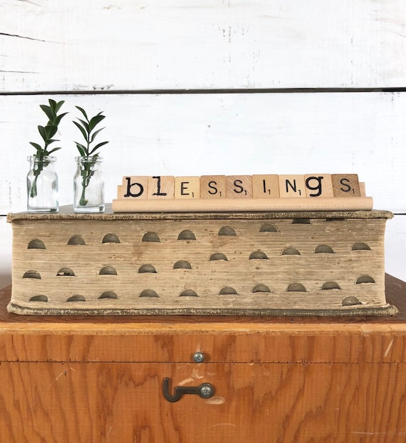 Vintage Scrabble Wood Rack Sign BLESSINGS Free Shipping