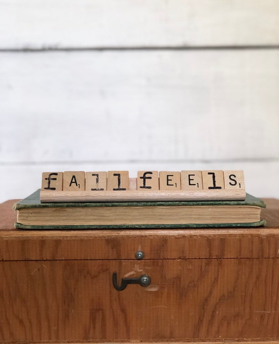 Vintage Scrabble Wood Rack Sign FALL FEELS Free Shipping