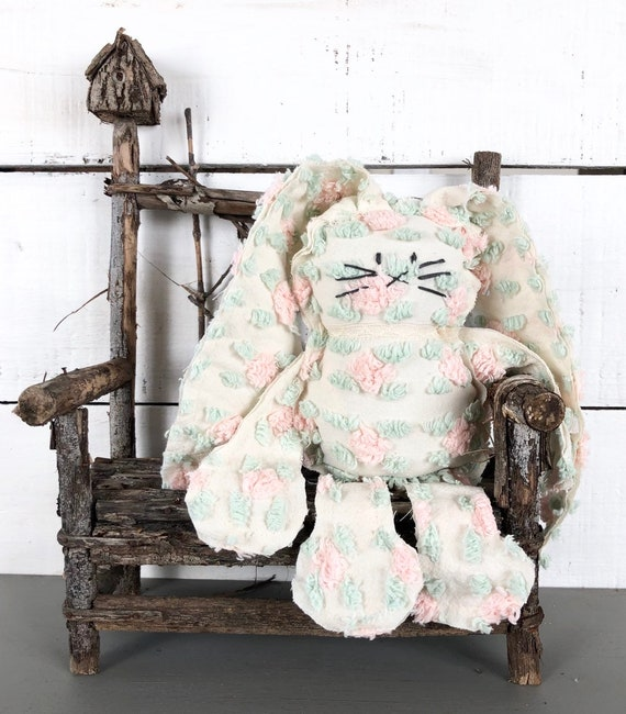 Vintage Light Pink and Green Rosebud Chenille Bunny FREE SHIPPING Easter primitive shabby chic