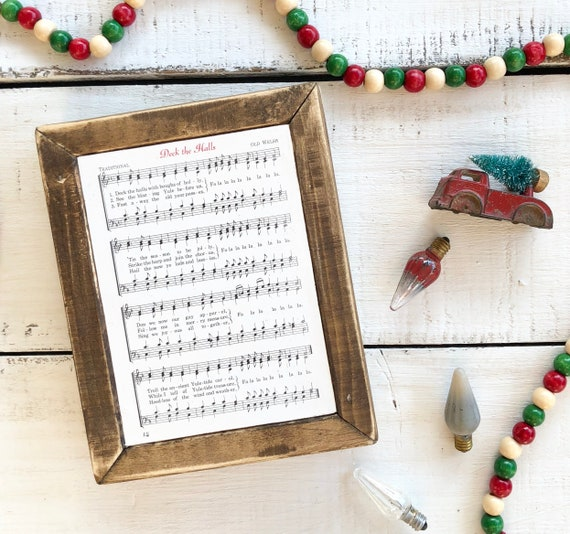 DECK THE HALLS Vintage Hymn Wood Frame || Christmas decor || Christmas sign Free Shipping
