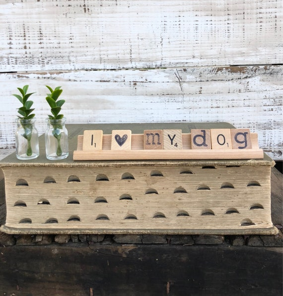 Vintage Scrabble Wood Rack Sign I LOVE My DOG Free Shipping