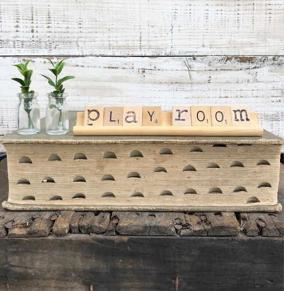 Vintage Scrabble Wood Rack Sign PLAYROOM Free Shipping
