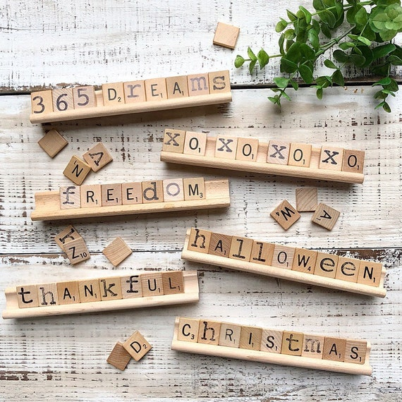 Vintage Scrabble Wood Rack Sign Holiday Gift Set