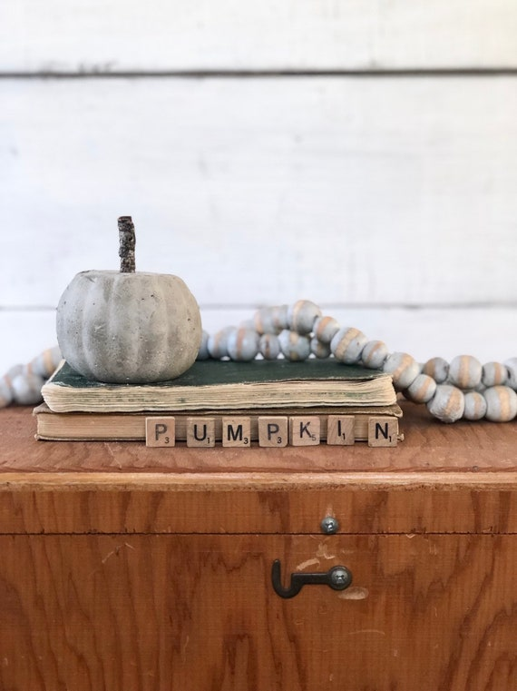 Small Concrete Pumpkin Halloween With Twig branch cement