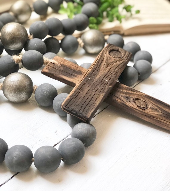 Large Wood Bead Rosary Giant Handmade Prayer Meditation Wood Garland Rustic Farmhouse Decor FREE shipping 4ft long