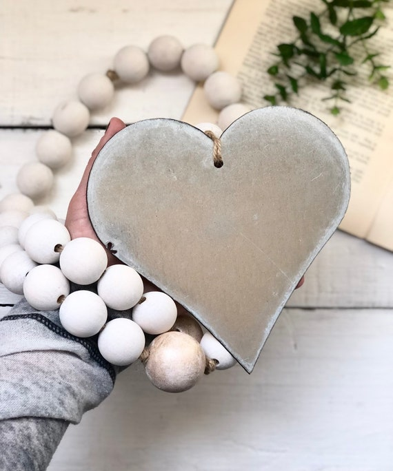 Large Wood White and Gold Bead Galvanzied Heart Giant Handmade Wood Garland Rustic Farmhouse Decor FREE shipping 4ft long