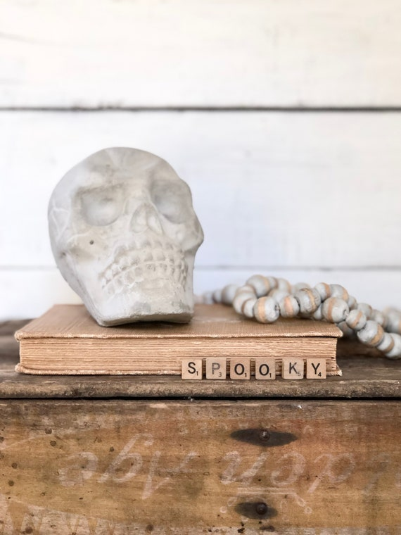 Solid Concrete Skull skeleton Halloween Decor FREE SHIPPING