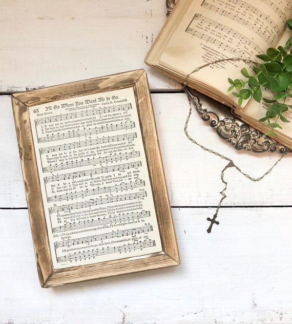 I'LL GO WHERE You Want Me To Go Vintage Hymn Wood Frame Authentic Page