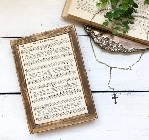 The LORD is MY SHEPHERD Vintage Hymn Wood Frame *only one available*