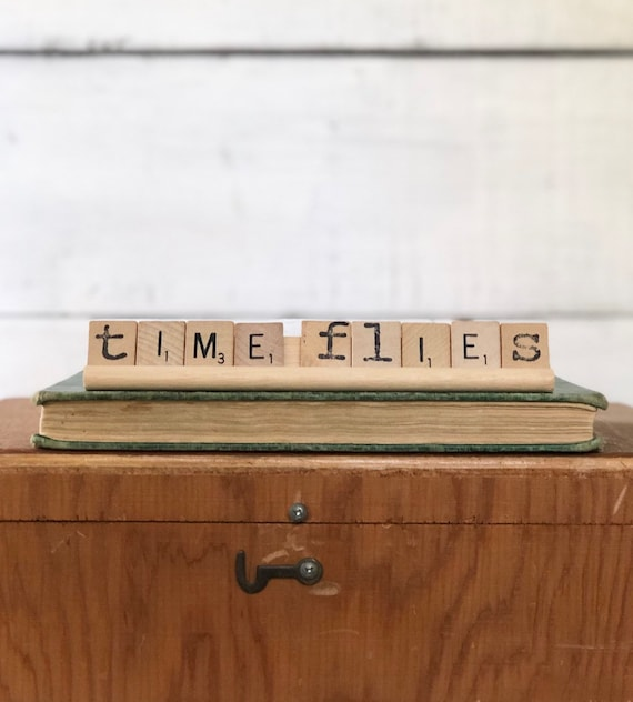 Vintage Scrabble Wood Rack Sign TIME FLIES Free Shipping