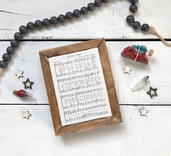 The First Noel Vintage Hymn Wood Frame Farmhouse Decor Christmas Sign Music Page