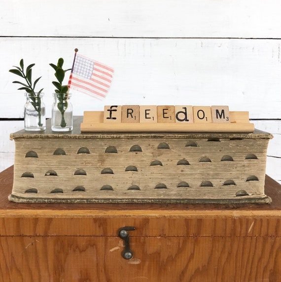 Vintage Scrabble Wood Sign || FREEDOM Free Shipping fourth of july Independence Day